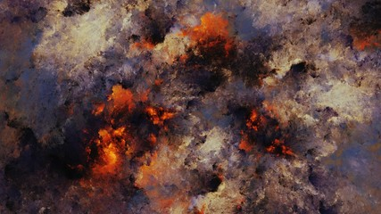 Digital abstract painting of the sky on fire