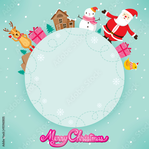 Santa Claus, Snowman And Reindeer On Circle Frame, Merry Christmas ...