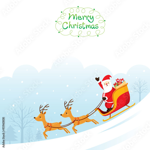 santa claus riding on sleigh merry christmas xmas happy new year objects