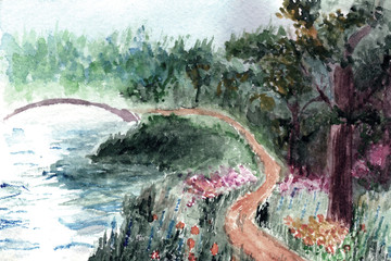 Forest and bridge over the river in watercolor