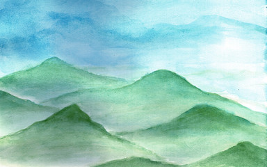 The mountains in the fog in watercolor.