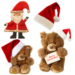 Teddy bear with santa hat. Christmas decorations