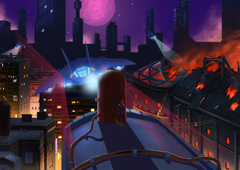 Illustration: The Occupied City On Fire. The Alien's Fighter Airplane goes out on Patrol and Search to Suppress the Rebel Forces. Story with Fantastic Cartoon Style Scene Wallpaper Background Design.