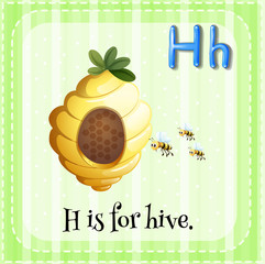 Flashcard letter H is for hive