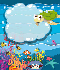Underwater scene with sea animals