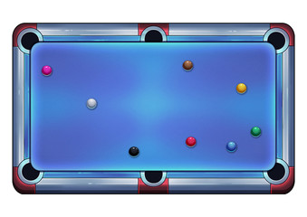 Illustration: Pool Table with Snooker Balls. Fantastic Cartoon Style Game Element Design.