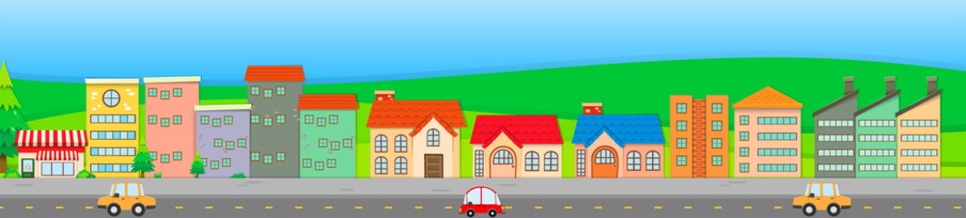 Suburb scene with houses and cars