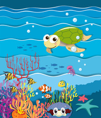 Underwater scene with turtle and fish