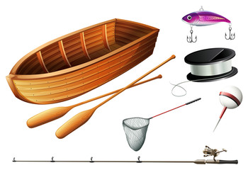 Boat and fishing equipments