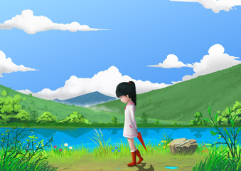 Illustration: Spring: The Little Girl by the Beautiful Mountain's River Side with Green Grass and Little Flowers. Story with Fantastic Cartoon Style Scene Wallpaper Background Design.