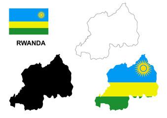 Rwanda map vector, Rwanda flag vector, isolated Rwanda