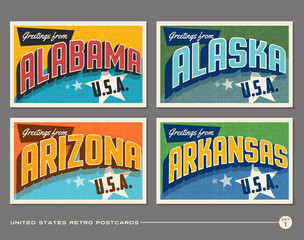 United States vintage typography postcards featuring Alabama, Alaska, Arizona, Arkansas