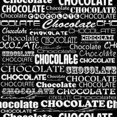 Seamless chocolate pattern with word of chocolate with different