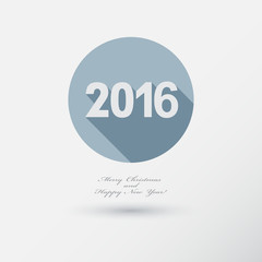 New Year 2016 Icon with long Shadow. Merry Christmas card or bac
