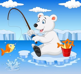 Cartoon polar bear fishing