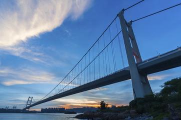 Tsing Ma bridge in Hiong Kong at dusk