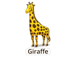 Giraffe african savannah animal cartoon vector