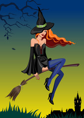 Halloween witch with a broom