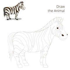 Draw the animal educational game  zebra