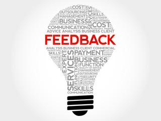 Feedback bulb word cloud, business concept