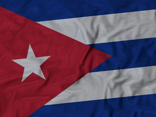 Closeup of ruffled Cuba flag