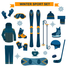 Winter sport icons and symbols in flat style vector collection