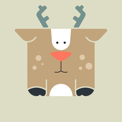 Flat square icon of a cute deer