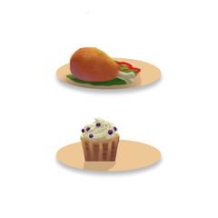 Illustration: Drumstick. Ice cream. Fantastic Cartoon Style Element Design.