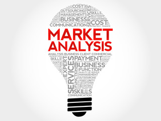 Market Analysis bulb word cloud, business concept