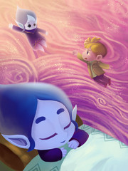 Illustration: The Snow Princess Sleeps. In her dream she become a water drop flying to her world. And the little boy doesn't want her leave. Fantastic Cartoon Style Scene Wallpaper Background Design.
