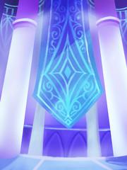 Illustration: The Ice Palace inside. Fantastic Cartoon Style Scene Wallpaper Background Design.