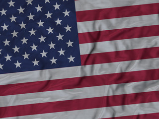 Closeup of ruffled United States of America flag