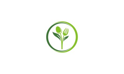 spoon fork vegetarian leaf logo