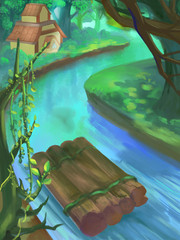 Illustration: River Rafting in the Jungle Forest. Fantastic Cartoon Style Scene Wallpaper Background Design.