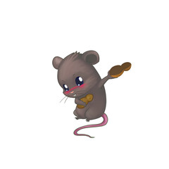 Illustration: Little Shy Mouse holding Peanuts. Fantastic Cartoon Style Character Design.