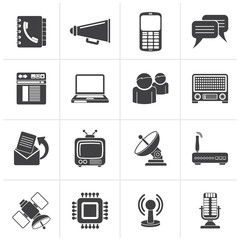 Black Communication, connection  and technology icons - vector icon set