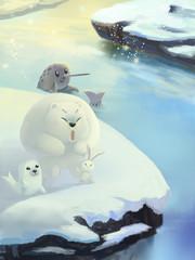Illustration: Snow Ice River, Polar Bear, Gold Seal, Elephant Unicorn Seal. Fantastic Cartoon Style Scene Wallpaper Background Design.