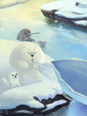 Illustration: The Polar Bear blow away a snow boat. Gold Seal, Elephant Unicorn Seal. Fantastic Cartoon Style Scene Wallpaper Background Design.
