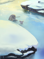 Illustration: Snow River of North Pole. Fantastic Cartoon Style Scene Wallpaper Background Design.
