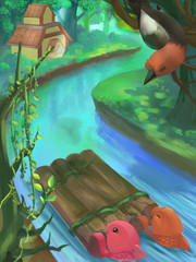 Illustration: River in Forest, Jungle. Fantastic Cartoon Style Scene Wallpaper Background Design.