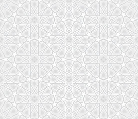 Arabesque Star Pattern, Light Grey Background, Vector Illustration