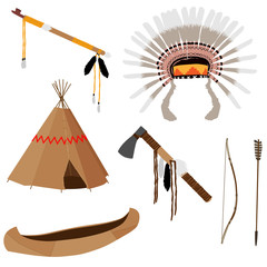 Native american set six icons