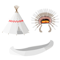 Wigwam, canoe and headdress