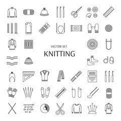 Knitting line icons set. Knitting supplies and accessories. Needle, crochet, woolen yarn, hook,  scissors, pattern. Knitwear, pullover, scarf, jacket; mitten; sock. Vector illustration.