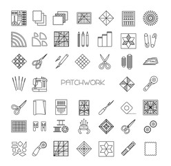 Quilting line icons set. Patchwork supplies and accessories. Quilt fabric kit, patch, needle, thread, scissors, cloth, sewing machine, pin, template, ruler, rotary cutter. Vector illustration.