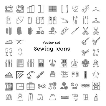 Sewing line icons set. Tailoring supplies and accessories. Fabric, needle, thread, scissors, sewing machine, pin, ruler, organizer, iron, zipper, spool, kit, pattern, dummy. Vector illustration.