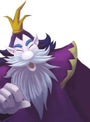 Illustration: A Kind King of Viking with Crown; Dwarf King; Big beard. Fantastic Cartoon Style Character Design.