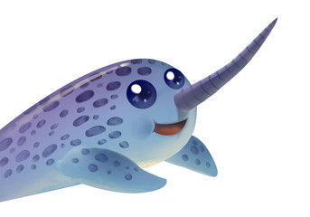 Illustration: Unicorn Elephant Seal. Fantastic Cartoon Style Character Design.
