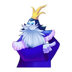 Illustration: A King Give Orders. Viking, Dwarf King, Big beard, Crown. Fantastic Cartoon Style Character Design.