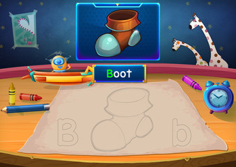 Illustration: Martian Class: B - Boot. The Martian in this picture opens a class for all Aliens. You must follow and use crayons coloring the outlines below. Fantastic Sci-Fi Cartoon Scene Design.